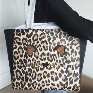 Kate Spade cheetah leopard cat tote